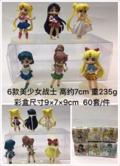 Pretty Soldier Sailor Moon Cartoon Model Toys Statue Japanese Anime PVC Figure (6pcs/set)
