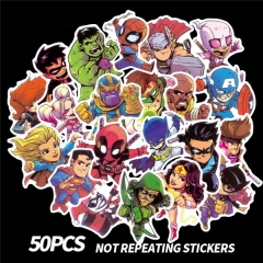 Marvel Super Hero The Avengers Kawaii Stickers Waterproof Stickers 50PCS/set