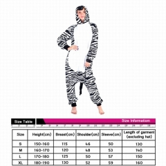 Zebra Cute Animal Cosplay Cartoon For Adult Pajamas Anime Pyjamas