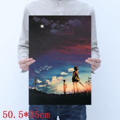 Byousoku 5 Centimeter Printing Cartoon Placard Home Decoration Retro Kraft Paper Anime Poster