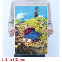 Howl's Moving Castle Printing Cartoon Placard Home Decoration Retro Kraft Paper Anime Poster