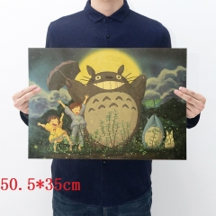 My Neighbor Totoro Cartoon Placard Home Decoration Retro Kraft Paper Anime Poster