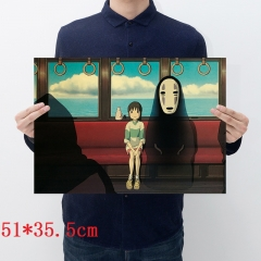 Spirited Away Cartoon Placard Home Decoration Retro Kraft Paper Anime Poster