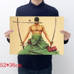 One Piece Zoro Cartoon Placard Home Decoration Retro Kraft Paper Anime Poster