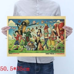 One Piece Cartoon Placard Home Decoration Retro Kraft Paper Anime Poster