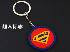 Superman Movie 3D Two Sides Cosplay Cartoon Pendant PVC Anime Keychain