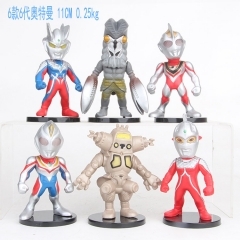 6pcs/set Ultraman 6 Generation Cartoon Collection Toys Statue Anime PVC Figure