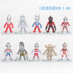 10pcs/set Ultraman Cartoon Collection Toys Statue Anime PVC Figure