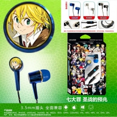 3 Colors Cheapest The Seven Deadly Sins Cosplay Cartoon 3.5mm Plug Anime Earphone
