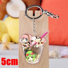 Vocaloid Megurine Luka Cartoon Pendant Key Ring Transparent Anime Acrylic Keychain