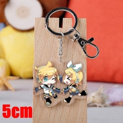 Vocaloid Kagamine Rin/Len Cartoon Pendant Key Ring Transparent Anime Acrylic Keychain