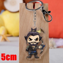 Overwatch Hanzo Game Pendant Key Ring Transparent Anime Acrylic Keychain