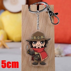 Overwatch Mccree Game Pendant Key Ring Transparent Anime Acrylic Keychain