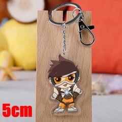 Overwatch Tracer Game Pendant Key Ring Transparent Anime Acrylic Keychain