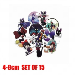 Cartoon Kiki's Delivery Service Anime Stickers 15pcs/Set