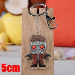 Marvel Comics Guardians of the Galaxy Star-Lord Movie Pendant Key Ring Transparent Anime Acrylic Keychain