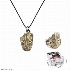 Guardians of the Galaxy Movie Groot Cosplay Cartoon Decoration Stainless Steel Necklace+Ring