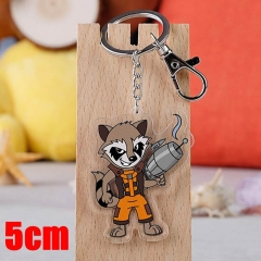 Marvel Comics Guardians of the Galaxy Rocket Raccoon Movie Pendant Key Ring Transparent Anime Acrylic Keychain