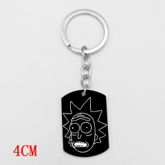Popular Rick and Morty Black Anime Cartoon Keyring Cosplay Alloy Fashion Keychain