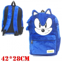 Sonic Game Cosplay Cartoon Student Anime Plush Backpack Bag