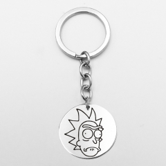 Round Rick and Morty Anime Cartoon Keyring Cosplay Alloy Fashion Keychain