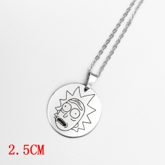 Round Shape Rick and Morty Cosplay Decoration Alloy Anime Necklace Fashion Cool Design Necklace