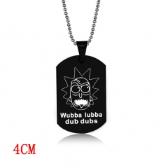 Rick and Morty Black Cosplay Decoration Alloy Anime Necklace Fashion Cool Design Necklace
