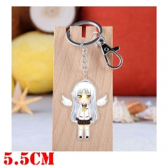 Angel Beats Tachibana Kanade Cartoon Pendant Key Ring Transparent Anime Acrylic Keychain