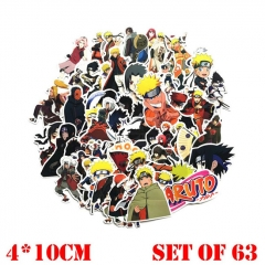 63pcs/set Naruto Japanese Manga Cartoon Waterproof  Anime Stickers Set