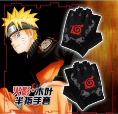 Naruto Cartoon Surrounding Winter Cosplay Anime Half Finger Gloves