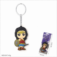 Wonder Woman Movie Cosplay Two Sides Soft Plastic PVC Keychain