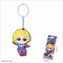 Captain Marvel Movie Cosplay Two Sides Soft Plastic PVC Keychain