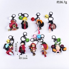 One Piece Cartoon Cosplay Decoration Pendant Anime Figure Keychain (9pcs/set)