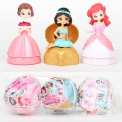 Surprise Ball Disney Princess Model Cartoon PVC Figure (3pcs/set)