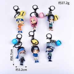 Naruto Cartoon Cosplay Decoration Pendant Anime Figure Keychain (6pcs/set)