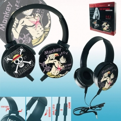 One Piece Colorful Printing Anime Rotatable Headphone Earphone