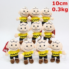 Snoopy Charlie Brown Cosplay Cartoon Character Keyring Dolls Anime Plush Pendant Toy (10pcs/set)