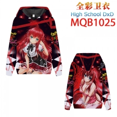 High School D×D Cartoon Color Printing Patch Pocket Hooded Anime Hoodie