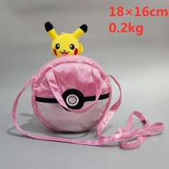 Pokemon Poke Ball Pikachu Cartoon Cosplay Canvas Anime Plush Crossbody Bag