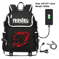 Fairy Tail  Anime Cosplay Cartoon Waterproof Canvas Colorful USB Charging Backpack Bag