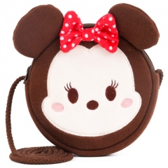 Disney Minnie Mouse Cartoon Pattern Small Size For Kids Coin Pocket Crossbody Plush Bag