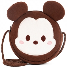 Disney Mickey Mouse Cartoon Pattern Small Size For Kids Coin Pocket Crossbody Plush Bag