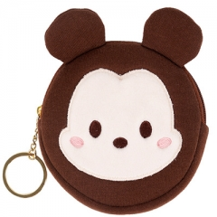 Disney Mickey Mouse Cartoon Pattern Card Bag Purse Portable Plush Coin Wallet