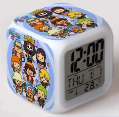 One Piece Cartoon Square Colorful Change Anime Alarm Clock