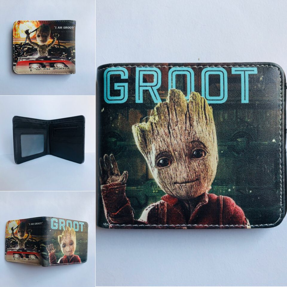 Guardians of the Galaxy Groot Movie Colorful Coin Purse Bifold PU Anime Short Wallet