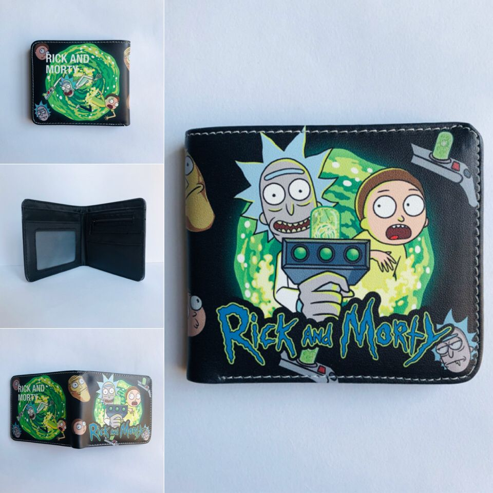 Rick and Morty Cartoon Colorful Coin Purse Bifold PU Anime Short Wallet