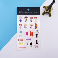 K-POP BTS Bulletproof Boy Scouts Decorative Transparent Sticker