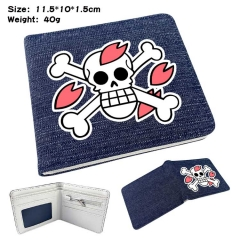 One Piece Denim Folding Coin Purse Anime Wallet