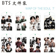 8 Styles K-POP BTS Bulletproof Boy Scouts Cartoon Document Holder For Student Office Anime File Pocket