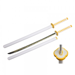 Demon Slayer: Kimetsu no Yaiba Agatsuma Zenitsu Sword PU Material Plastic Sheath Anime Foam Sword Weapon (104CM)